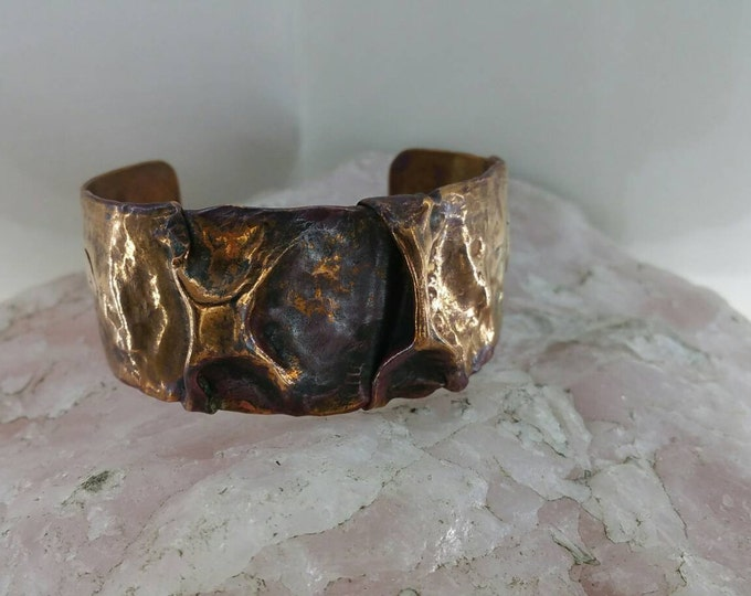 Rustic Free Form Folded Copper Cuff Bracelet