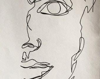 Continuous Line Portrait Print