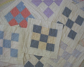 Vintage Lot of 15 Quilt Squares 9-Patch Hand Quilted Cotton 1940's