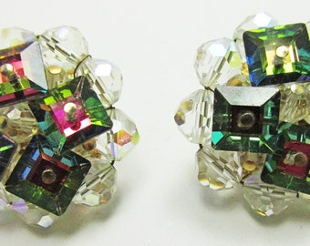 Vintage - Watermelon Rhinestone and Bead Earrings - Collectible - Jewelry - Clip On - Unique - Signed - Vendome - Rhinestone - Bead - 1950s
