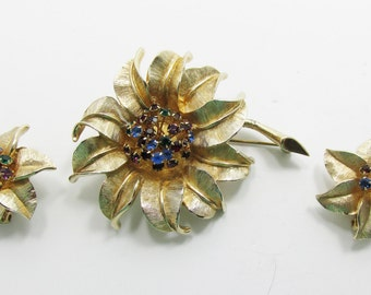 Stylish Vintage 1950s Signed Judy Lee Floral Multi-Colored Rhinestone Pin and Earrings Set
