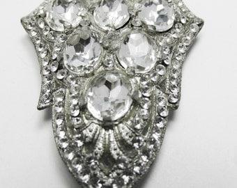 Tremendous Vintage 1930s Pot Metal Art Deco Clear Rhinestone Dress Clip
