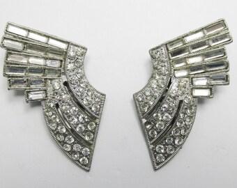 Vintage 1930s Signed HYG Pair of Pot Metal Art Deco Rhinestone Dress Clips