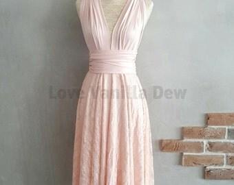 Bridesmaid Dress Infinity Dress Blush Lace Knee Length Wrap Convertible Dress Wedding Dress