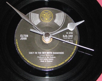 "Elton John Lucy in the sky with diamonds  7"" vinyl record clock"