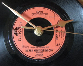"Slade merry xmas everybody  7"" vinyl record clock"