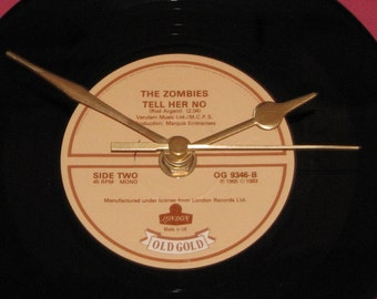 "The zombies tell her no  7"" vinyl record clock"