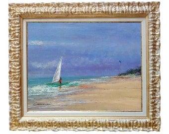 Italian painting beach seascape windsurf original oil of Andrea Cosimi Italy