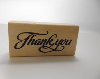 Thank You Rubber Stamp Wood Mounted Script Font