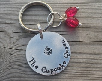 The cupcake queen hand stamped keyring with cupcake stamp and pink beads. Cake maker, valentines, Mother's Day gift idea