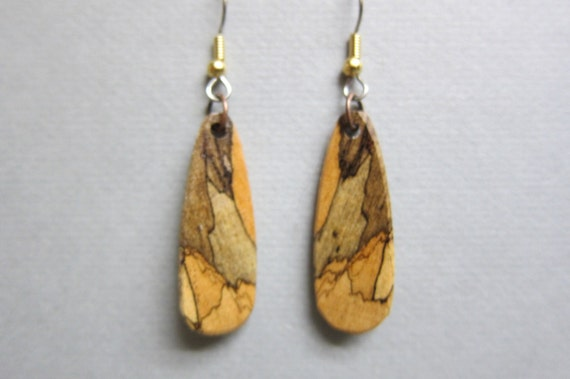 Beautiful Spalted Tamarind Small Exotic Wood Dangle Earrings by ExoticWoodJewelryAnd handcrafted ecofriendly