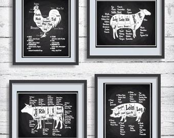 Winter Sale Butcher Diagram Collection, Kitchen Decor Art Print Set, Chalkboard Print Set,