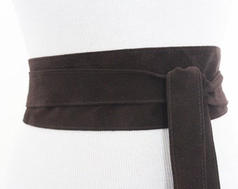 Dark Brown Suede Obi Belt | Suede Obi Sash Belt | Plus Size Belt |  Tie Belt | Real Suede Leather Belt| Handcrafted Belt