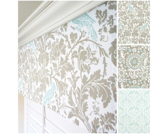 "Taupe Valance.Light Blue Window Valance.Blue Damask Valance.Kitchen Valance.Bird Valance.Floral Valance Panel.52""x15"".Any Size"