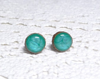Wooden studs  11 mm,  surgical steel posts, ear studs, wooden post earrings, hand painted studs, turquoise earrings, hypoallergenic (0347)