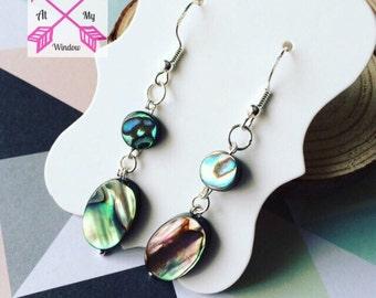 Abalone shell earrings, Abalone shell drop earrings, Abalone earrings, Silver earrings, Dangle earrings,