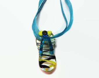 Lampwork Glass Sandal Pendant, Ribbon Necklace, Jewelry Supply, Sun Catcher Pendant, Handbag Charm, Glass Sandal Necklace, Glass Charm
