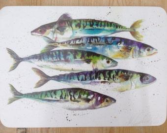 Designer Mackerel Fish Placemat by Nicola Jane Rowles made in UK