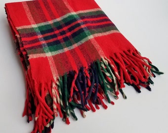 Classic Red Green and Yellow Plaid Wool Blanket with Fringe