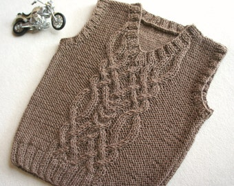 Children's vest, aran boys tank, hand knitted baby vest, cable knit baby top, knit baby clothing