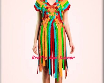 Crochet Stripes Tunic/Mini Dress  - Made to Order 20% Discount