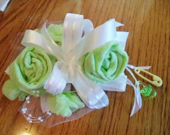 Baby Sock Baby Shower Corsages-Handmade Baby Sock Shower Corsages