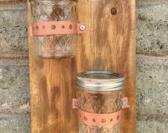 Wooden Wall Sconce, Mason Jar Sconce, Wooden Home Decor