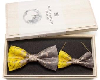 Yellow & Grey splash Bowtie / Necklace Set- Gift set,Toddler Bowtie Toddler Bow tie,Groomsmen bow tie, Pre Tied, AdjustableNovioshk, H0073