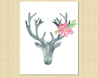 gray & fuchsia watercolor stag with flowers