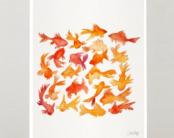 Goldfish – Signed Watercolor Painting Print by CatCoq. Orange, Abstract, Kitchen Wall Art for Home Decor Artwork. Fish, Gold Fish, Fine Art