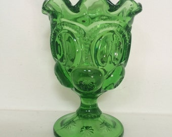 L E Smith Moon and Stars Green Glass Goblet