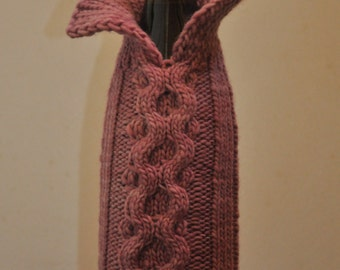 Hand knit wine bottle wool sweater with cables