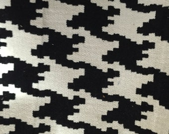 Black and  White - Houndstooth - Chenille Fabric - Upholstery Fabric by the Yard