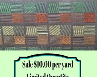 Fabric SALE!!!  Tangerine, Green, And Soft Yellow Geometric Uphlstery Fabric - Modern Upholstery Fabric - Contemporary Upholstery Fabric