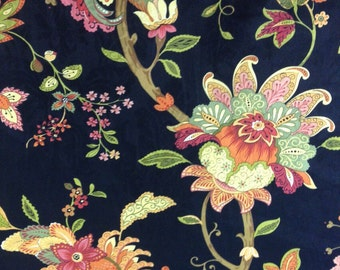 Vibrant Floral and Black Fabric - Upholstery Fabric By The Yard - Home Decor Fabric