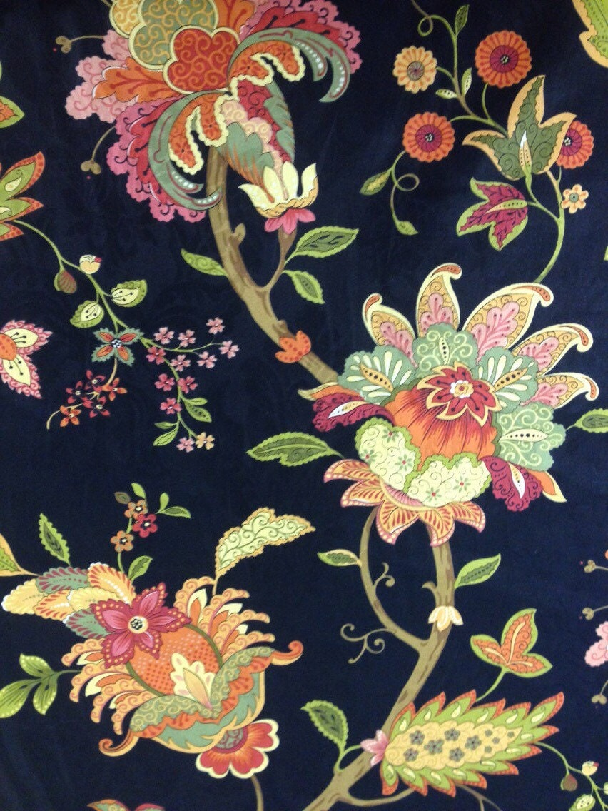 Vibrant Floral and Black Fabric Upholstery Fabric By The