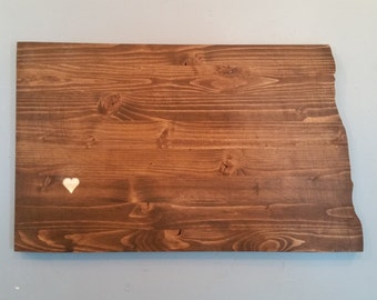 Rustic North Dakota State Sign/Plaque, Add a heart to your location