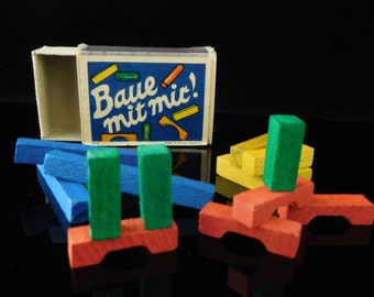 Wooden toy, wooden miniature toys, micro toys, building brick, TOY BLOCKS, collectible, table game, West Germany, 1950s, in original box