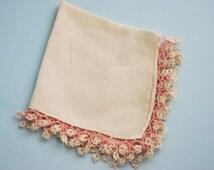 Lovely Vintage Handkerchief Pink and Cream Hanky HAND TATTED LACE Tatting Fine Irish Linen Hankie