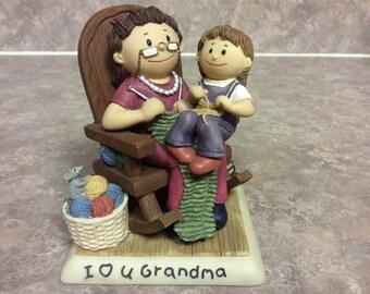 I Love You Grandma Figurine with Grandma and grandchild, Zingle-Berry.