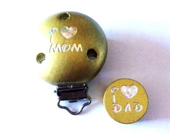 Pacifier clip and bead love mum/dad Gold