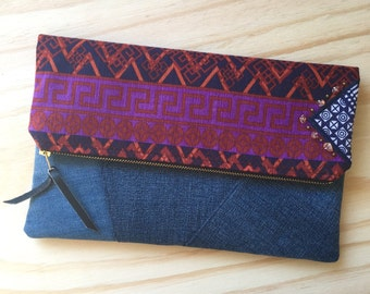 Fold Over Clutch - Clutch Bag - Purse - Pouch - Recycled Upcycled Textiles - Eclectic - Eco Conscious - Denim - Boho