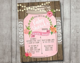 Girl Baby Shower Invitation Rustic Burlap Mason Jar Floral Pink Wood Laurel Wreath Lace Shabby Printable Digital I Customize For You