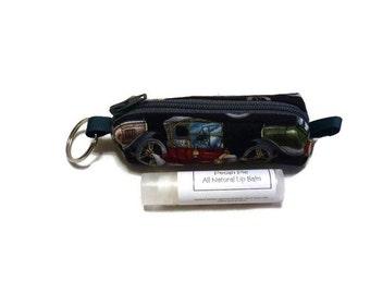 Chapstick Holder Keychain, Old Fashion Cars Chapstick Cozy Keychain, Lipstick Holder, Lip Balm Case, Lip Balm Cozy,Zipper Case