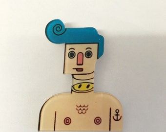 Robot boy with tattoo Funky Kitsch smiley face Brooch Badge Pin