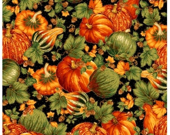 On SALE Abundance Black Harvest Medley By Quilting Treasures Fall Harvest Fabric Sold By the Half Yard in One Continuous Cut
