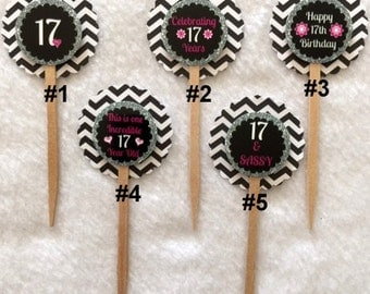 Set Of 12 Personalized 17th Birthday Party Black Chevron Cupcake Toppers (Your Choice Of Any 12)