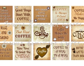 INSTANT DOWNLOAD Coffee Sayings Square 1x1  Image Sheets *Digital Image*  4x6 Sheets With 15 Images