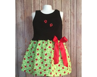 Ladybug Dress, Girl's Ladybug Dress, Lady Bug Tank Dress, Casual Ladybug Dress