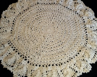 White Lacy Circle Afghan, Lacy Circle, White Lacy Christening Blanket